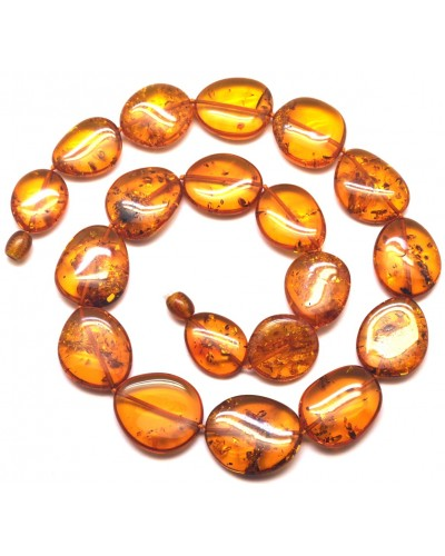 Big beads cognac Baltic amber necklace