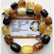 Barrel shape amber necklace 92g (Certificate included)