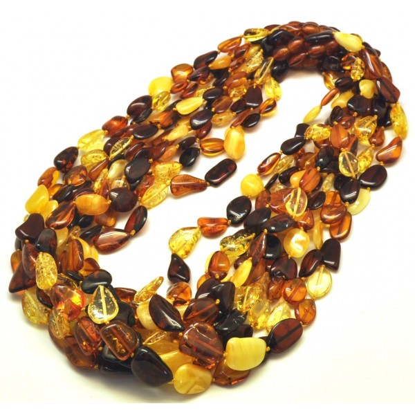 Amber necklaces | Lot of 10 multicolor Baltic amber beans necklaces