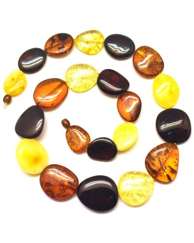 Big beads long amber necklace