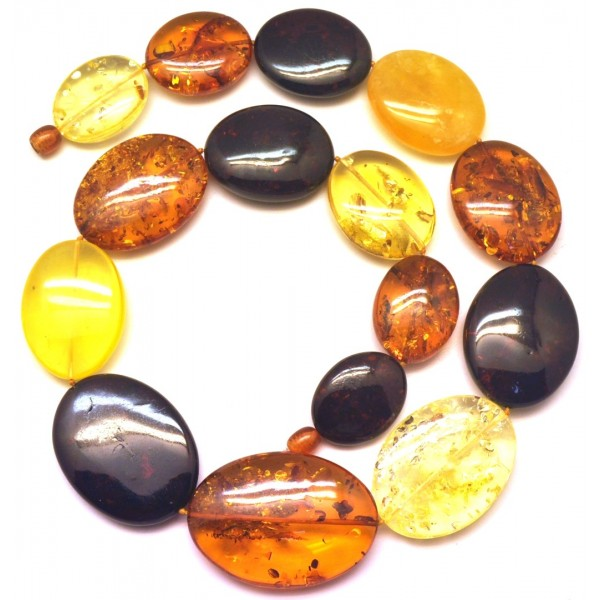 Amber necklaces | Massive big beads multicolor Baltic amber necklace