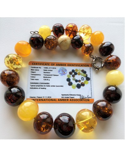 Baroque shape amber necklace 128g (Certificate included)