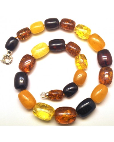 Barrel shape Baltic amber necklace 69 g .