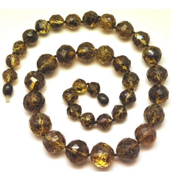 Baroque beads short faceted Baltic amber necklace