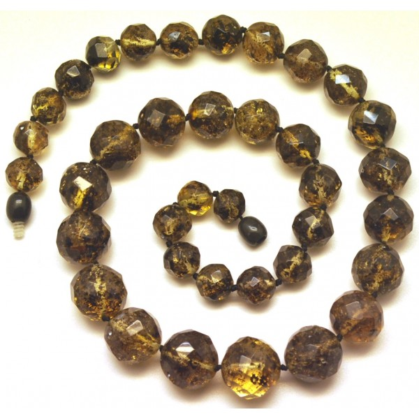 Amber necklaces | Baroque beads short faceted Baltic amber necklace