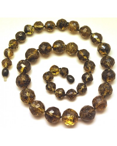 Baroque beads short faceted Baltic amber necklace -AN2227
