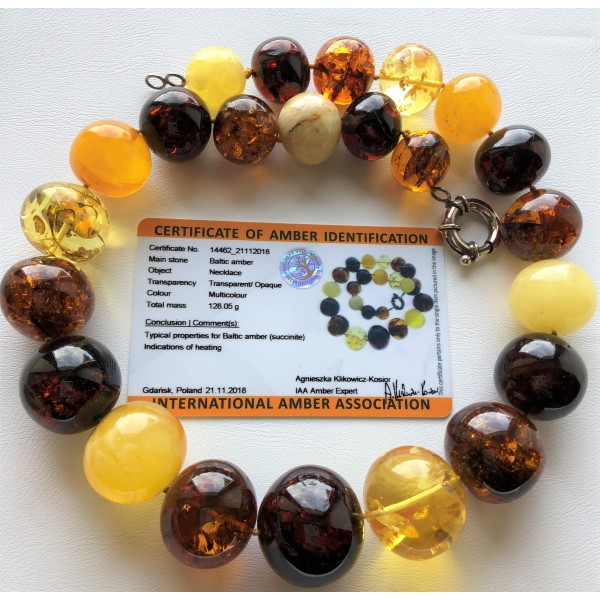 Baroque shape amber necklace 128g (Certificate included)-AN2213