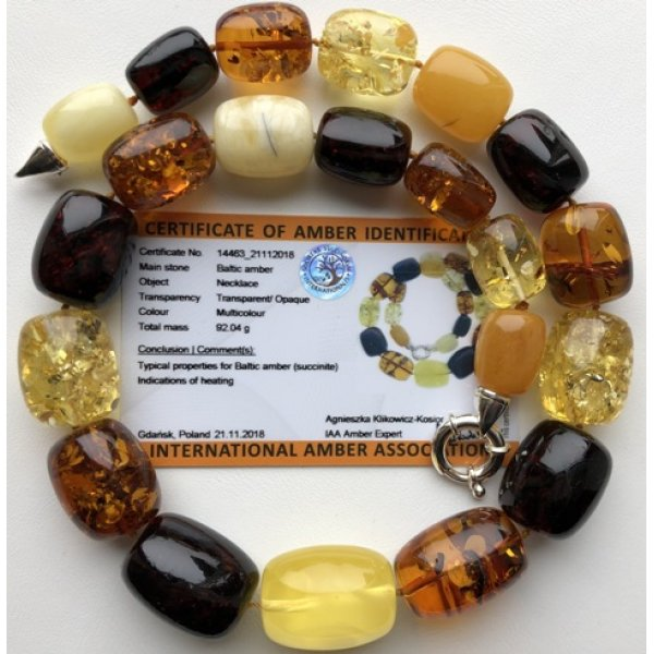 Barrel shape amber necklace 92g (Certificate included)-AN2194