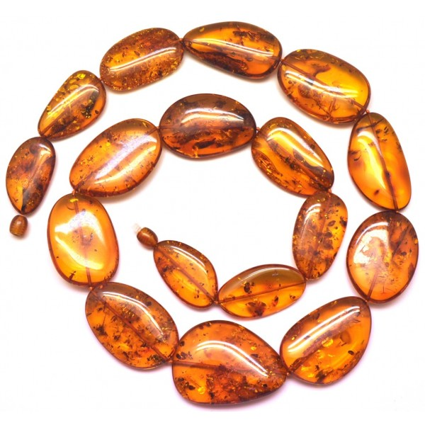 Big beads cognac amber long necklace -AN2190