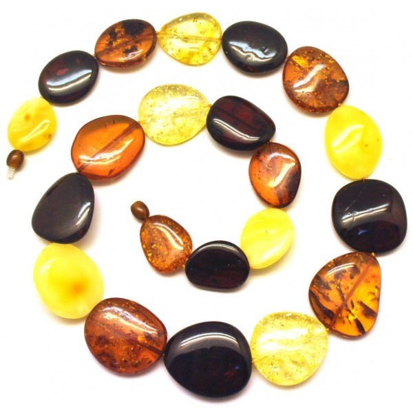 Big beads long amber necklace-AN2203