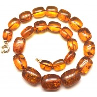 Cognac barrel shape amber necklace -AN2222