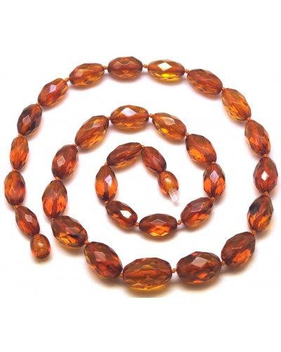 Faceted cognac amber olive necklace-AN2220