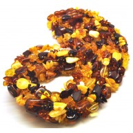 Lot of 10 multicolor Baltic amber beans necklaces-AN2196