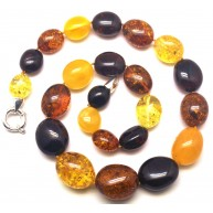 Multicolor amber beads necklace