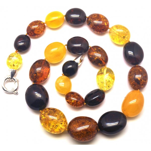 Multicolor amber beads necklace -AN2210