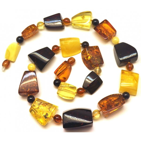 Multicolor faceted Baltic amber necklace -AN2225