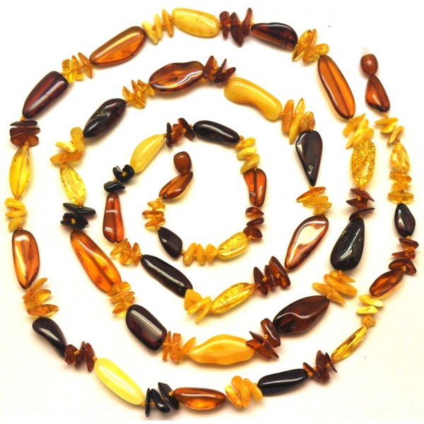 Natural shape multicolor amber long necklace-AN2198