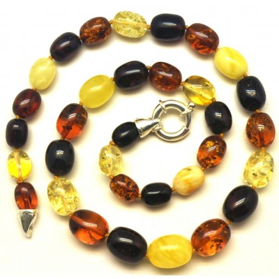 Olive shape amber necklace-AN2204