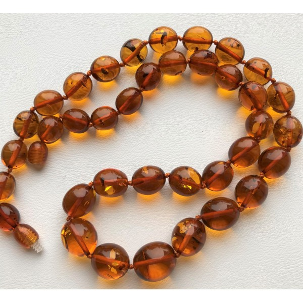 Olive shape amber necklace-AN2211