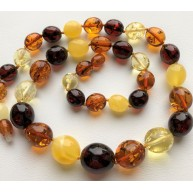 Olive Shape Beads Genuine BALTIC AMBER Necklace 31g-AN2212