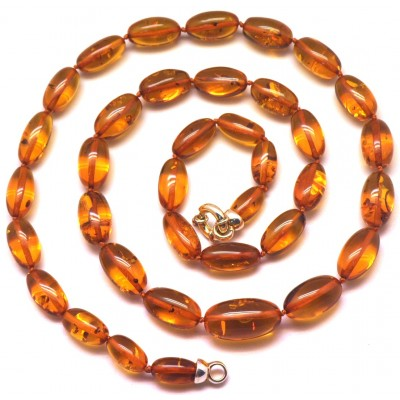 Olive shape long amber necklace