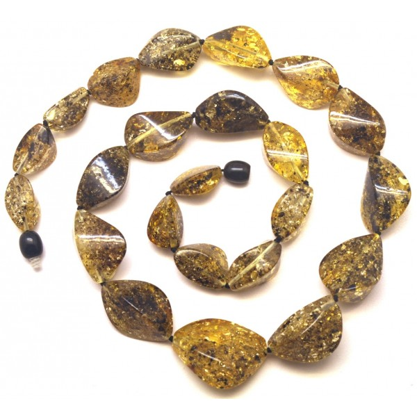 Short faceted green Baltic amber necklace-AN2205