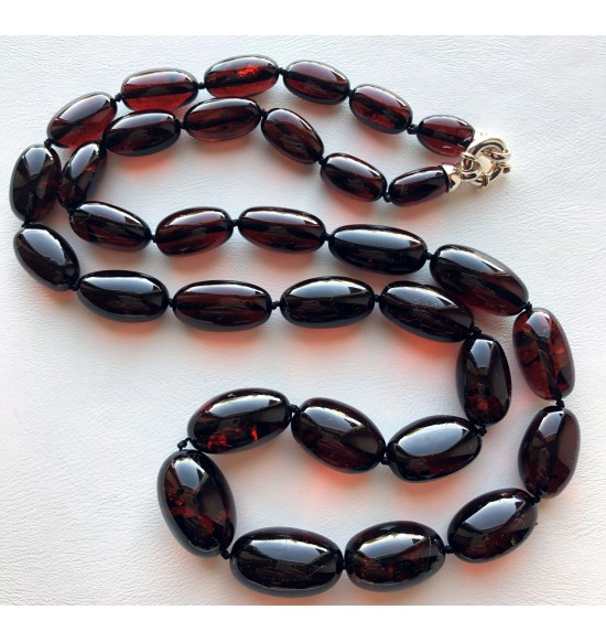 Olive Shape Beads Genuine BALTIC AMBER long Necklace