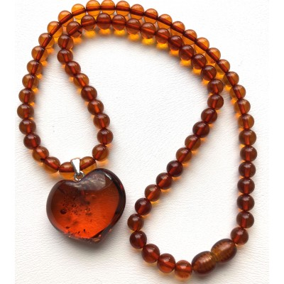 Baltic amber round beads necklace with pendant-AN2249