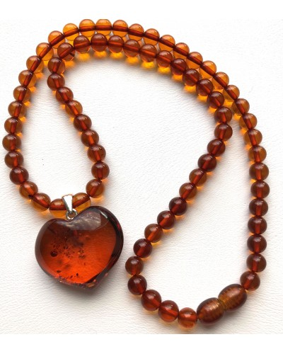 Baltic amber round beads necklace with pendant