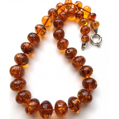Baroque beads cognac Baltic amber necklace