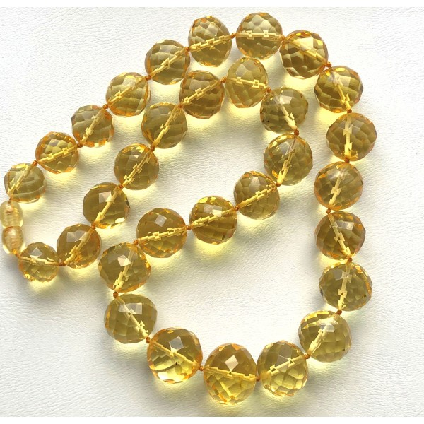 Baroque beads short faceted Baltic amber necklace-AN2250