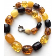 Barrel shape Baltic amber necklace 87 g.