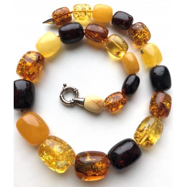 Barrel shape Baltic amber necklace 87 g. -