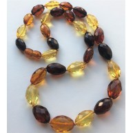 Faceted multicolor amber olive necklace-AN2230