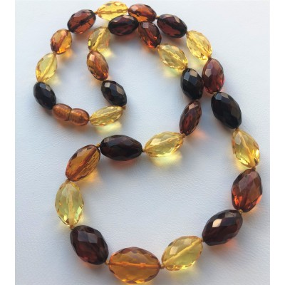 Faceted multicolor amber olive necklace