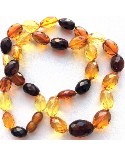 Faceted multicolor amber olive necklace-AN2237