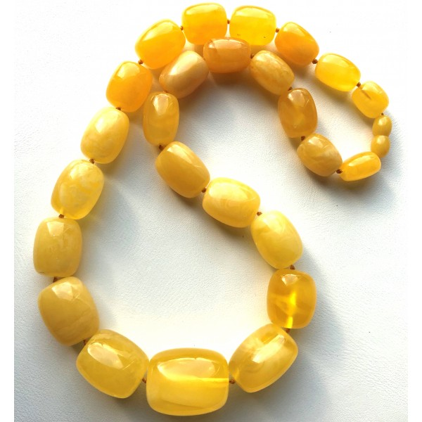 Genuine natural barrel shape amber necklace 62g -