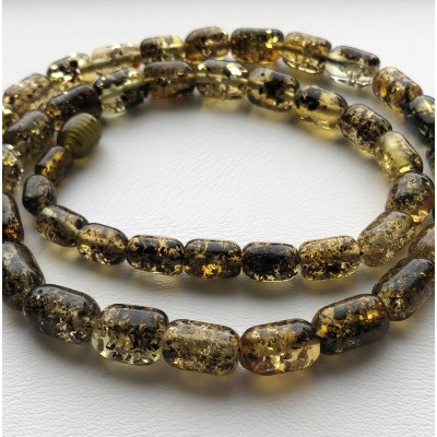 Greek style green amber necklace-AN2234