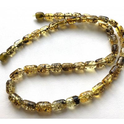 Greek style green amber necklace-AN2243