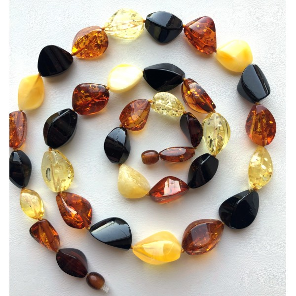 Long faceted Baltic amber necklace -