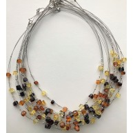 Lot of 10 faceted beads amber wire necklaces-AN2232