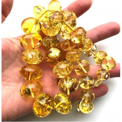 Massive Baroque beads lemon Baltic amber necklace