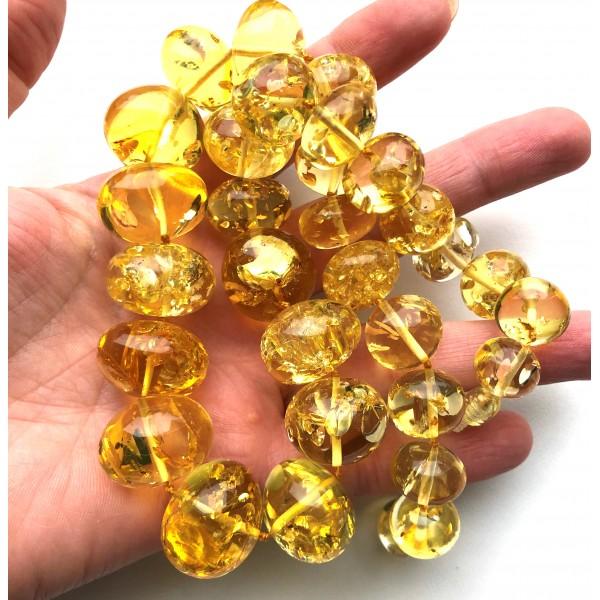 Massive Baroque beads lemon Baltic amber necklace -