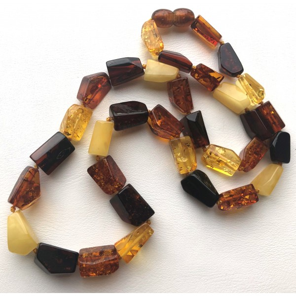 Multicolour faceted amber necklace -