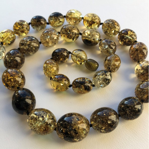 Olive shape amber necklace-AN2231