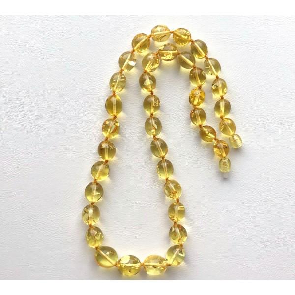Olive shape Baltic amber necklace -