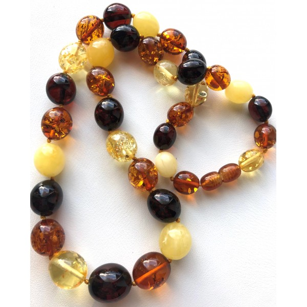Olive Shape Beads Genuine BALTIC AMBER Necklace 31g -