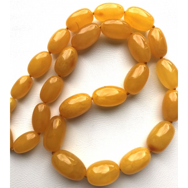 Olive Shape Beads Genuine BALTIC AMBER Necklace-AN2240