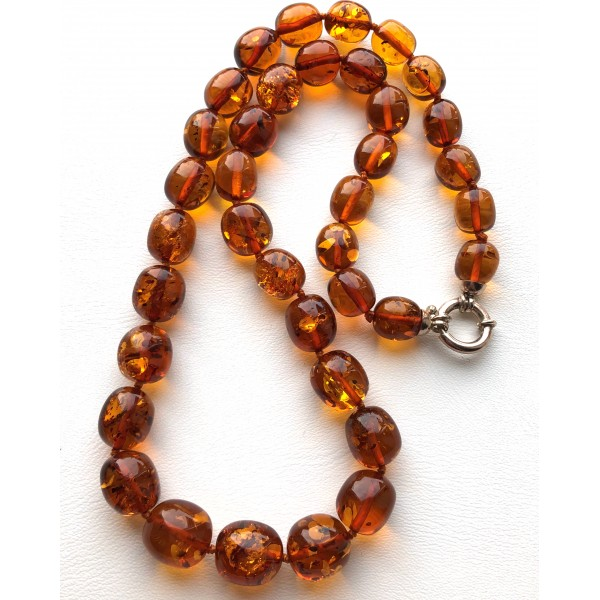Olive Shape Beads Genuine BALTIC AMBER Necklace -