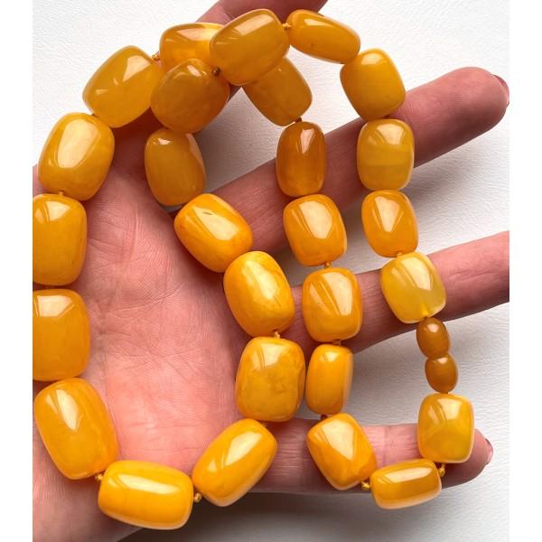 Antique Baltic amber barrel shape necklace 50 g. -